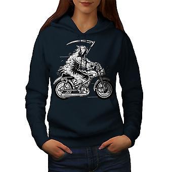 Grim Reaper Moto Horror Women NavyHoodie | Wellcoda