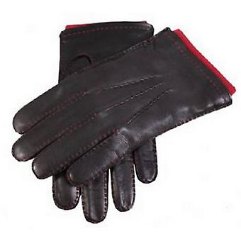 Dents Contrast Stitching Leather Gloves - Black