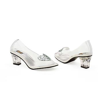 Ellie Shoes E-212-Ariel 2 Heel Clear Slipper with Silver Glitter Heart