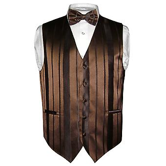 Men's Dress Vest & BOWTie Woven Striped Design Bow Tie Set