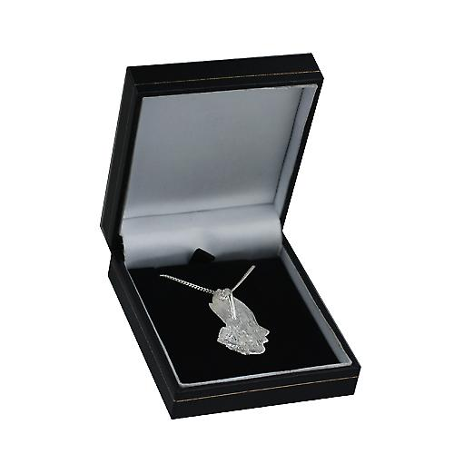 Silver 39x22mm Praying hands Pendant with Curb chain