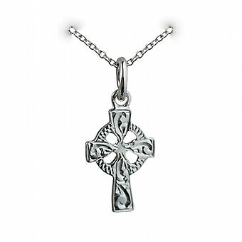 Silver 16x10mm hand engraved Celtic Cross with a rolo Chain 14 inches Only Suitable for Children