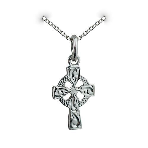 Silver 16x10mm hand engraved Celtic Cross with a Rolo chain