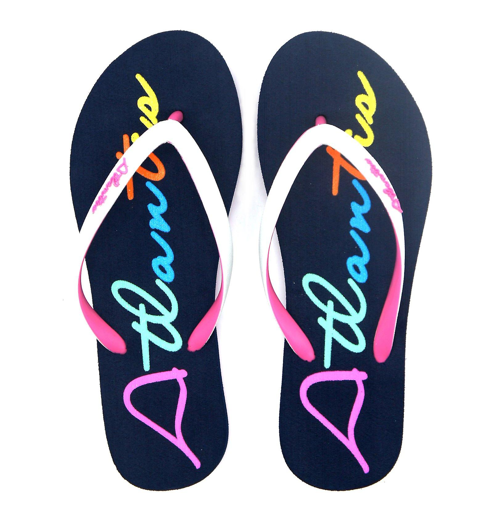 Atlantis Shoes Women Supportive Cushioned Comfortable Sandals Flip Flops Big Logo Navy