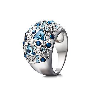 Kristall Swarovski Elements blauen Ring und Platte Rhodium - T52