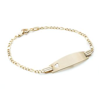 10k Gold Figaro ID Bracelet with Small Heart Engravable for Children 2mm