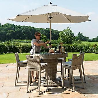 Maze Rattan Oxford 6 Seat Round Bar Set With Ice Bucket