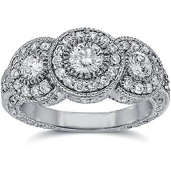 1 1/2ct Vintage Three Stone Lab Created Diamond Engagement Ring 14K White Gold