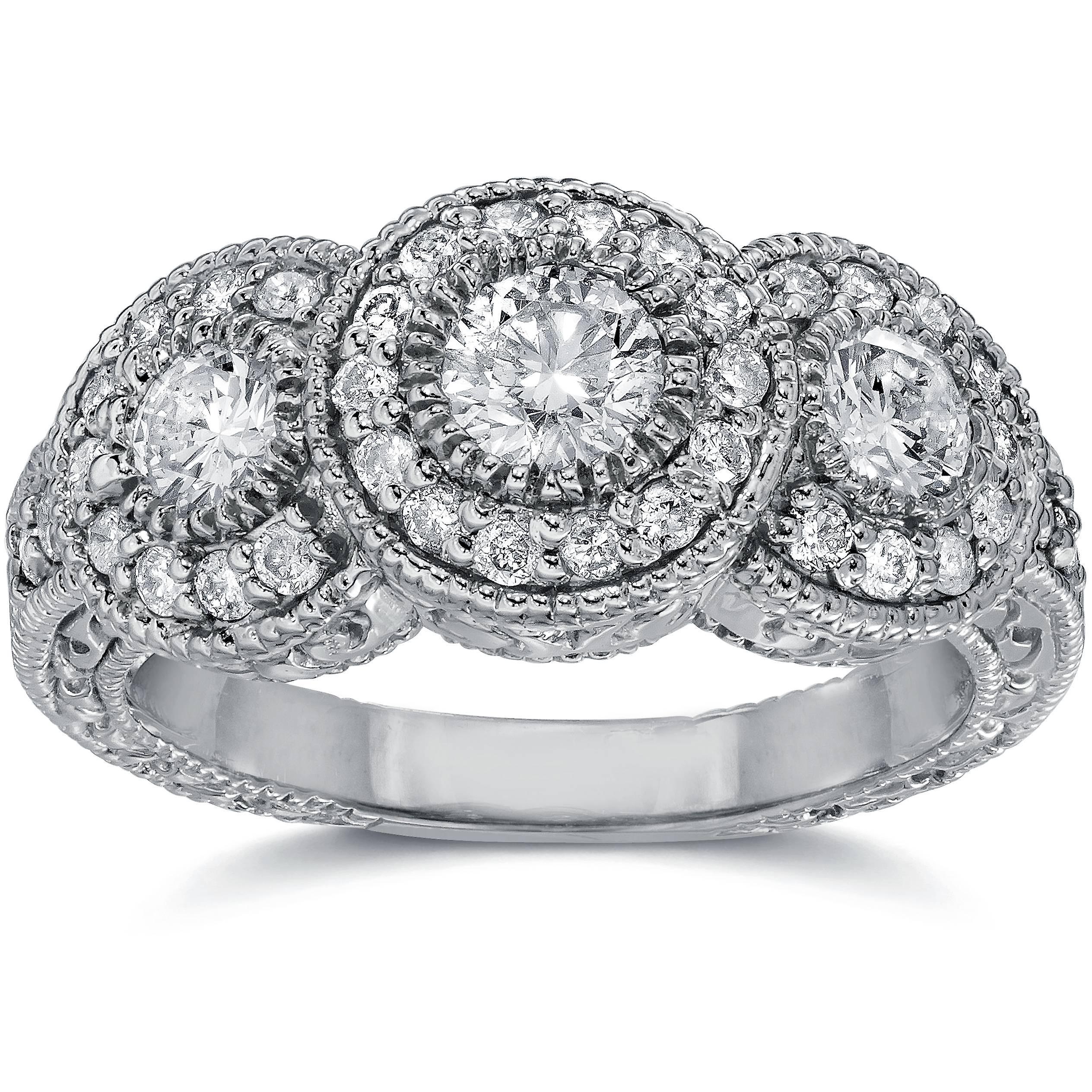 1 1 2ct Vintage Three Stone Lab Created Diamond Engagement Ring 14K blanc or