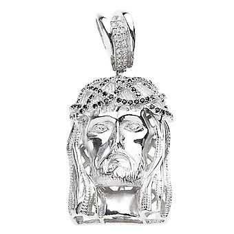 925 iced out sterling silver pendant - JESUS HEAD black