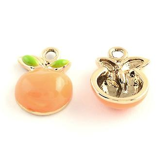 Packet 5 x Rose Gold Metal Alloy 12 x 17mm Orange Charm/Pendant Y08450
