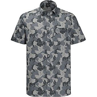 Jack Wolfskin Mens Hot Chili Marble Organic Cotton Short Sleeve Shirt