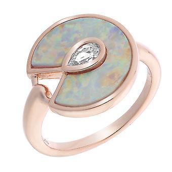 Orphelia Silver 925 Ring Rosegold White Opal &  Zirconium   ZR-7287