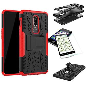 For OnePlus 6 six hybrid case 2 piece red + tempered glass bag case cover sleeve