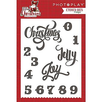 Photo Play Paper Etched Dies-Mad 4 Plaid Christmas Words