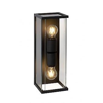 Lucide CLAIRE-LED  Wall Light IP54 2xE27Max15W  Black