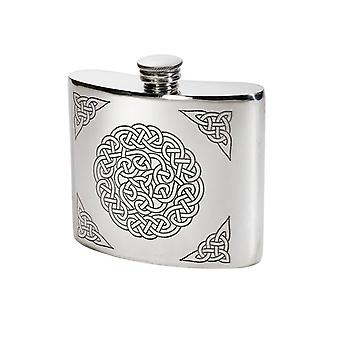 Celtic Knot Embossed Pewter Kidney Flask - 6oz