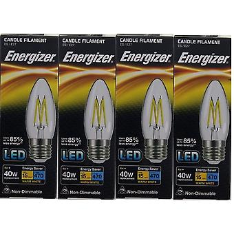 4 X Energizer LED Filament Candle ES E27 4W = 40W 470lm Warm White Screw Cap Bulb  [Energy Class A+]