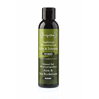 Shower gel, Aloe, Sea Buckthorn and Bergamot. 99% natural ingredients.