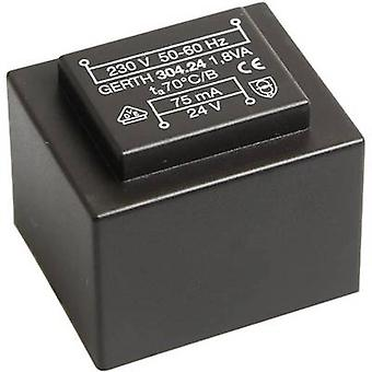 PCB mount transformer 1 x 230 V 1 x 12 V AC 1.80 VA 150 mA PT301201 Gerth