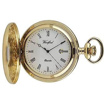 Woodford Gold Plated Roman Numeral Half Hunter Quartz Pocket Watch - Gold