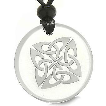 Amulet liv beskyttelse keltiske skjold knude gamle magiske kræfter kvarts medaljon halskæde