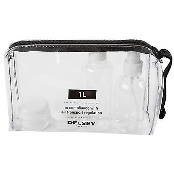 Delsey cosmetics bottles set hand luggage travel kit with zipper