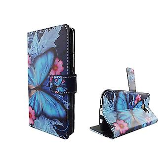 Mobile phone case pochette pour mobile Samsung Galaxy S7 bleu papillon
