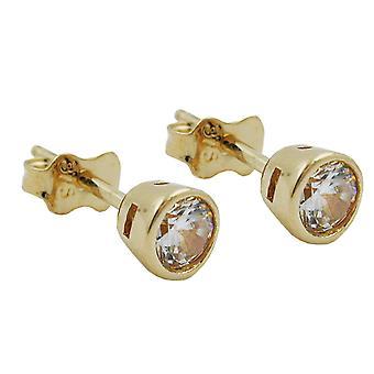 klassische Ohrstecker Ohrringe gold 375 Stecker, 4,5mm Zirkonia rund, 9 Kt GOLD
