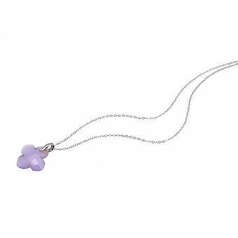 Pierre gemme pourpre lavande - 2,5 cm - Collier - calcédoine pendentifs - argent-
