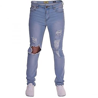 Island Trading Mens Skinny Jeans Extreme Open Rips Frayed Cutaway Knee Ripped Destroyed Distressed Stretch Denim