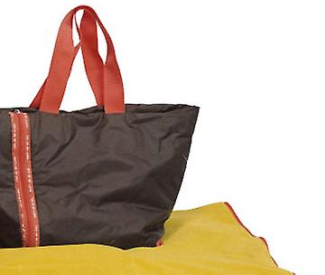 Empty Me Small Picnic Bag Rug by Asli, Khaki / Lime