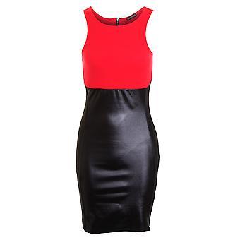 Kvinder Celeb slankende effekt Illusion våde Look kontrast Bodycon damer kjole