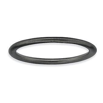 Rutenio argento placcatura impilabile espressioni-placcato nero raso anello - anello Dimensione: 6-8