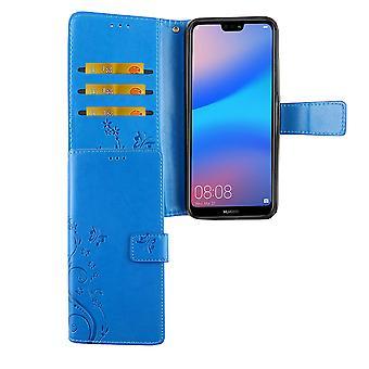 Huawei P20 Lite housse sac affaire mobile Flip case porte-cartes bleu