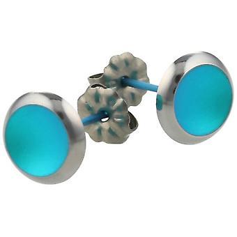 Ti2 Titanium Stud Earrings - Kingfisher Blue