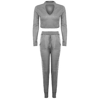 Damen Halsreif V Neck Langarm Crop Top Jogger Lounge Verschleiß Set Trainingsanzug