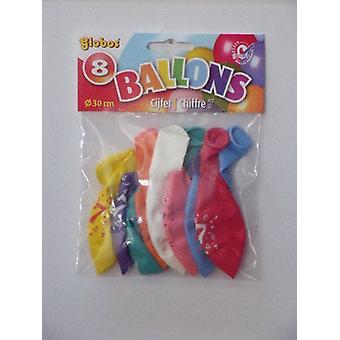 Ballonnen cijfer 7 no. 12 eenzijdig 5 zakjes met 8 stuks