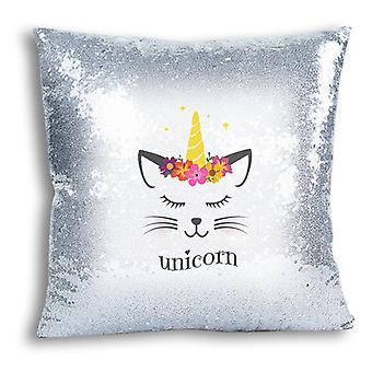 i-Tronixs - Unicorn Printed Design Silver Sequin Cushion / Pillow Cover for Home Decor - 2