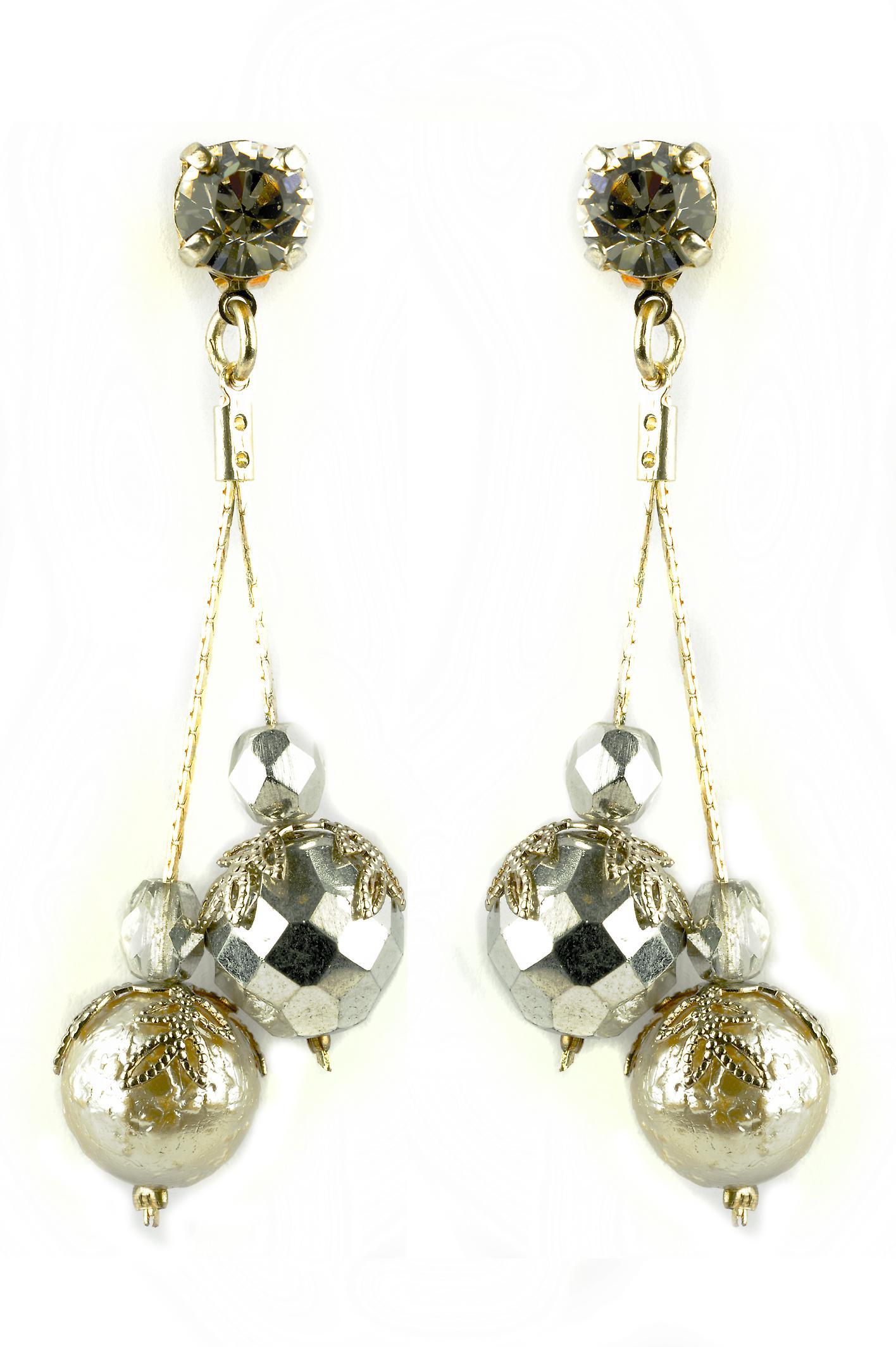 Waooh - smycken - WJ0697 - örhängen med strass Swarovski Svart & Silver - pärlstav silver - mount silver