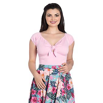 Hell Bunny Candy Pink Bardot Top XS