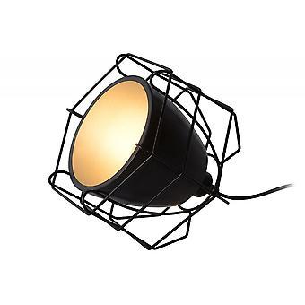 Lucide Grid moderne hjørne-formede metall sort og sølv bord lampe