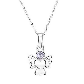Jo For Girls Sterling Silver June Simulated Birthstone Angel Pendant Necklace