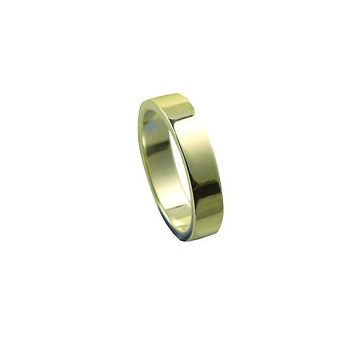 9ct Gold 4mm plain flat Wedding Ring Size L