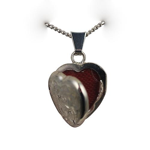 Silver 17x16mm hand engraved heart shaped Locket with Curb chain