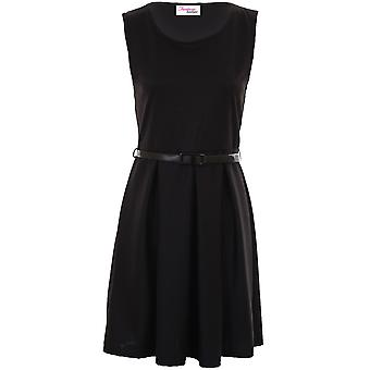 Ladies Sleeveless Belted PVC Shiny Plain Women's Black Skater Party Dress