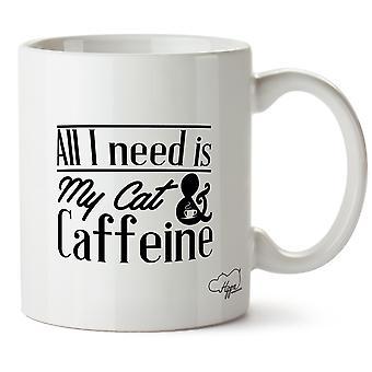 Hippowarehouse All I Need Is My Cat & Caffeine Printed Mug Cup Ceramic 10oz
