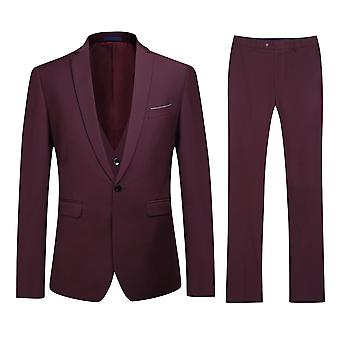 Allthemen Men's Slim Fashion One-Button Business Casual 3-Piece Suit Blazer Vest Trousers