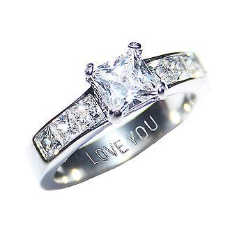 Ah! Smycken som graveras med 'Älskar dig' stål simulerat diamanter Princess Cut Ring