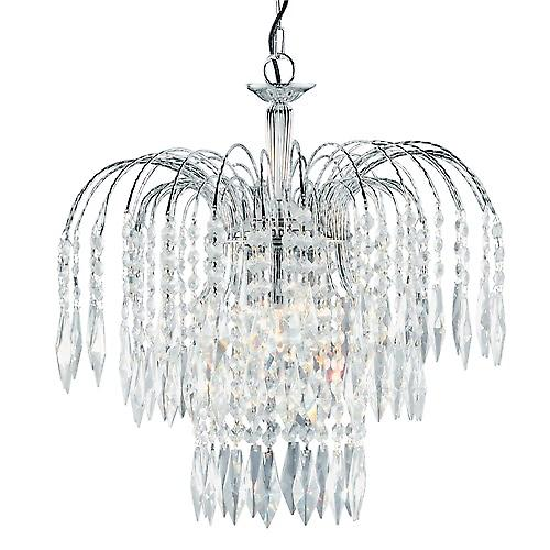Searchlight 4173-3 Waterfall Shower Crystal Chandelier 3 Light Cut Chrome Frame
